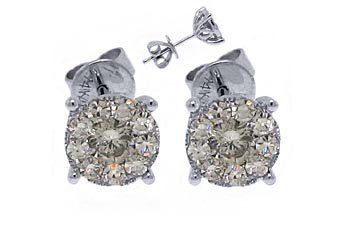 1.2 CARAT INVISIBLE SET BRILLIANT ROUND CUT ILLUSION DIAMOND STUD EARRINGS