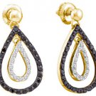 WOMENS .78 CARAT BLACK DIAMOND DANGLE TEAR EARRINGS ROUND CUT PAVE YELLOW GOLD