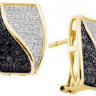 WOMENS 1 CARAT BLACK DIAMOND HOOP EARRINGS ROUND CUT PAVE 14KT YELLOW GOLD
