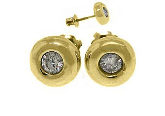 1/2 CARAT BRILLIANT ROUND BEZEL SET DIAMOND STUD EARRINGS YELLOW GOLD