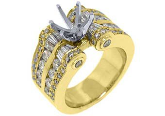 2.78 CARAT WOMENS DIAMOND ENGAGEMENT RING SEMI-MOUNT ROUND CUT YELLOW GOLD