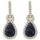 WOMENS 1.80 CARAT BLACK DIAMOND DANGLE EARRINGS ROUND CUT PAVE YELLOW GOLD