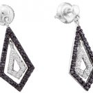 WOMENS .58 CARAT BLACK DIAMOND DANGLE EARRINGS ROUND CUT PAVE WHITE GOLD