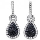 WOMENS 1.80 CARAT BLACK DIAMOND DANGLE EARRINGS ROUND CUT PAVE WHITE GOLD