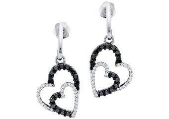 WOMENS .50 CARAT BLACK DIAMOND DANGLE EARRINGS HEART SHAPE PAVE WHITE GOLD