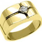 MENS 1/4 CARAT SOLITAIRE ROUND CUT DIAMOND RING WEDDING BAND 14KT YELLOW GOLD