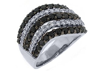 LADIES BLACK DIAMOND RING WEDDING BAND RIGHT HAND 2 CARAT ROUND WHITE GOLD