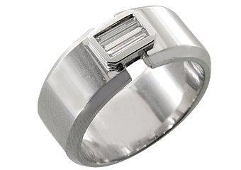 MENS 1/3 CARAT BAGUETTE CUT DIAMOND RING WEDDING BAND 14KT WHITE GOLD