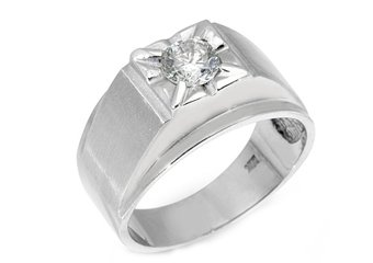 MENS 3/4 CARAT SOLITAIRE ROUND CUT DIAMOND RING WEDDING BAND 14KT WHITE GOLD