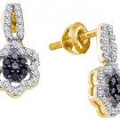 WOMENS .35 CARAT BLACK DIAMOND DANGLE EARRINGS ROUND CUT PAVE YELLOW GOLD