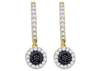 WOMENS .49 CARAT BLACK DIAMOND DANGLE EARRINGS ROUND CUT PAVE YELLOW GOLD