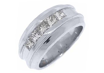MENS 1.54 CARAT PRINCESS SQUARE CUT DIAMOND RING WEDDING BAND 14KT WHITE GOLD