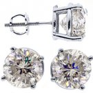 5 CARAT BRILLIANT ROUND CUT DIAMOND STUD EARRINGS 14KT WHITE GOLD