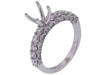 1.39 CARAT WOMENS DIAMOND ENGAGEMENT RING SEMI-MOUNT ROUND CUT WHITE GOLD