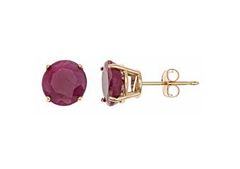 3.2 CARAT RUBY STUD EARRINGS 7mm ROUND CUT 14KT YELLOW GOLD JULY BIRTH STONE