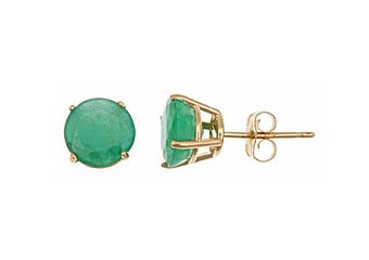 2.5CT EMERALD STUD EARRINGS EAR RINGS 7mm ROUND 14KT YELLOW GOLD MAY BIRTH STONE