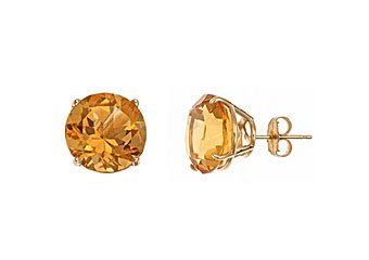 10 CARAT CITRINE STUD EARRINGS 11mm ROUND 14KT YELLOW GOLD NOVEMBER BIRTH STONE