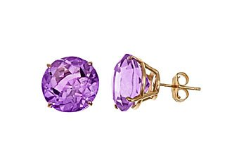 10 CARAT AMETHYST STUD EARRINGS 11mm ROUND 14KT YELLOW GOLD FEBRUARY BIRTH STONE