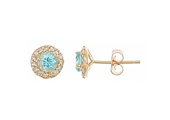 .91 CARAT BLUE ZIRCON DIAMOND STUD HALO EARRINGS 4mm ROUND CUT YELLOW GOLD
