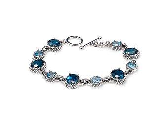 WOMENS OVAL LONDON CUSHION SWISS BLUE TOPAZ LINK BRACELET 925 STERLING SILVER