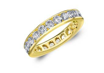 DIAMOND ETERNITY BAND WEDDING RING ROUND CHANNEL SET 14KT YELLOW GOLD 2 CARATS