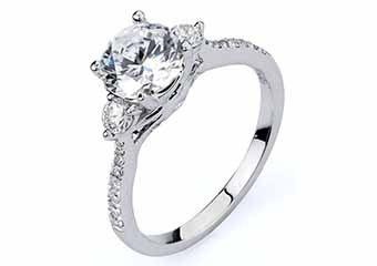 WOMENS DIAMOND ENGAGEMENT RING BRILLIANT ROUND CUT 1.41 CARAT 18K WHITE GOLD