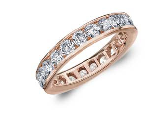 DIAMOND ETERNITY BAND WEDDING RING ROUND CHANNEL SET 14KT ROSE GOLD 2 CARATS
