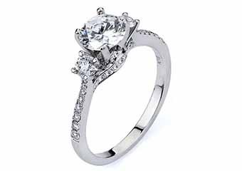 WOMENS DIAMOND ENGAGEMENT RING BRILLIANT ROUND CUT 1.49 CARAT 18KT WHITE GOLD