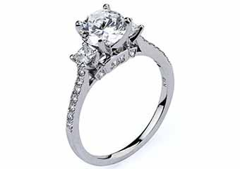 WOMENS DIAMOND ENGAGEMENT RING BRILLIANT ROUND CUT 1.44 CARAT 18KT WHITE GOLD