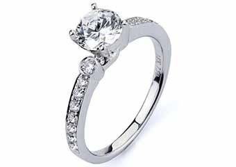 WOMENS DIAMOND ENGAGEMENT RING BRILLIANT ROUND CUT 1.30 CARAT 18K WHITE GOLD