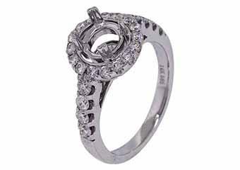 .84 CARAT WOMENS DIAMOND HALO ENGAGEMENT RING SEMI-MOUNT ROUND CUT WHITE GOLD