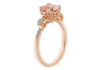 WOMENS 1.37 CARAT MORGANITE CUSHION CUT DIAMOND RING 925 STERLING SILVER ROSE