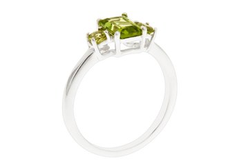 WOMENS 1.48 CARAT PERIDOT EMERALD CUT ROUND 3-STONE RING 925 STERLING SILVER