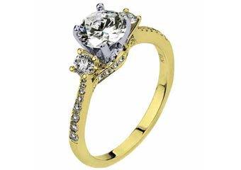 WOMENS DIAMOND ENGAGEMENT RING BRILLIANT ROUND CUT 1.49 CARAT 18KT YELLOW GOLD