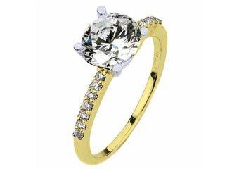 WOMENS DIAMOND ENGAGEMENT RING BRILLIANT ROUND CUT 1.14 CARAT 14KT YELLOW GOLD