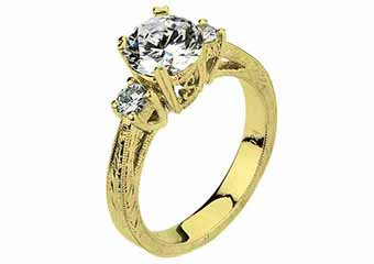 WOMENS DIAMOND ENGAGEMENT 3-STONE RING BRILLIANT ROUND CUT 1.2CT 14K YELLOW GOLD