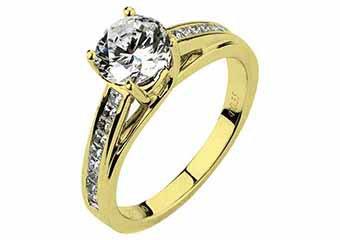 WOMENS DIAMOND ENGAGEMENT RING ROUND CUT 1.35 CARAT 18K YELLOW GOLD