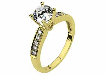 WOMENS DIAMOND ENGAGEMENT RING BRILLIANT ROUND CUT 1.18 CARAT 18K YELLOW GOLD