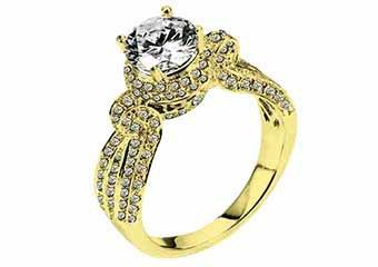 WOMENS DIAMOND ENGAGEMENT HALO RING ROUND CUT 1.93 CARAT 18K YELLOW GOLD