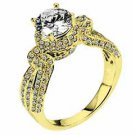 WOMENS DIAMOND ENGAGEMENT HALO RING ROUND CUT 1.93 CARAT 18K YELLOW GOLD