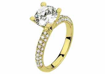 WOMENS DIAMOND ENGAGEMENT RING ROUND CUT 1.58 CARAT 18K YELLOW GOLD