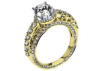 WOMENS DIAMOND ENGAGEMENT HALO RING ROUND CUT 2.36 CARAT 18K YELLOW GOLD