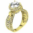 WOMENS DIAMOND ENGAGEMENT HALO RING ROUND CUT 2.63 CARAT 18K YELLOW GOLD