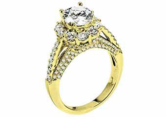 WOMENS DIAMOND ENGAGEMENT HALO RING ROUND CUT 2.47 CARAT 18K YELLOW GOLD