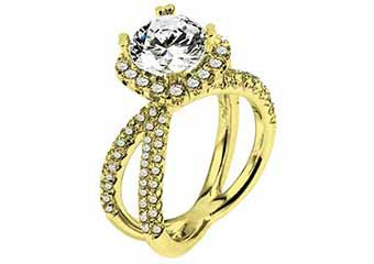 WOMENS DIAMOND ENGAGEMENT HALO RING BRILLIANT ROUND 2.10 CARATS 18KT YELLOW GOLD