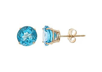 3 CARAT BLUE TOPAZ STUD EARRINGS 7mm ROUND 14KT YELLOW GOLD DECEMBER BIRTH STONE