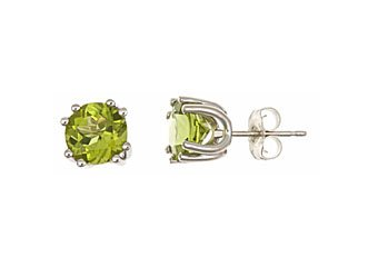 2.50 CARAT PERIDOT STUD EARRINGS 7mm ROUND STERLING SILVER AUGUST BIRTH STONE