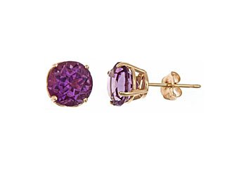 2.60CT AMETHYST STUD EARRINGS 7mm ROUND 14KT YELLOW GOLD FEBURARY BIRTH STONE
