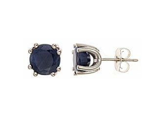 3.2 CARAT SAPPHIRE STUD EARRINGS 7mm ROUND STERLING SILVER SEPTEMBER BIRTH STONE