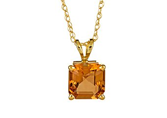 1.5 CARAT CITRINE ASSCHER CUT PENDANT 7mm 14KT YELLOW GOLD